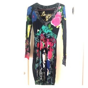 Desigual dress, funky artsy, Small, long sleeves